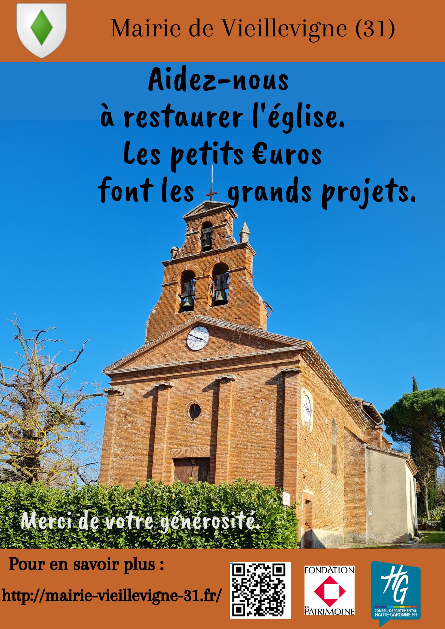 Aidez-nous à restaurer l'église de Vieillevigne (31)