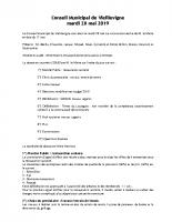 Conseil municipal du 28 mai 2019