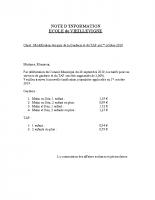 Note sur l'évolution des prix TAP et Garderie en octobre 2019